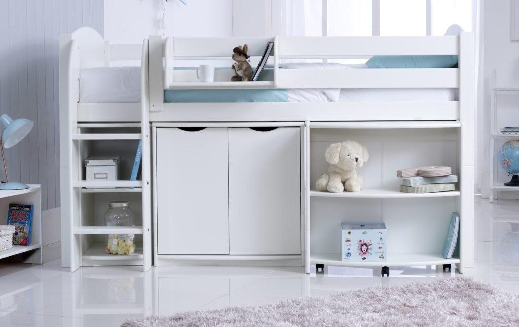 Convertible Cabin Bed (Shown In White) inc. Pull Out Desk, Cupboard & Shelving Unit