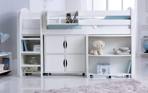 Convertible Cabin Bed with Pull Out Desk, Quad & Duo Storage Units