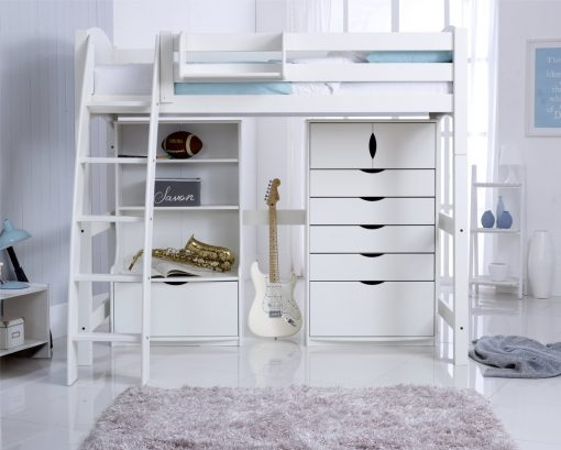 Convertible High Sleeper Bed Including 5 Drawer Chest & Bookcase