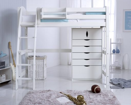 Convertible High Sleeper Bed with 5 Drawer Chest Unit