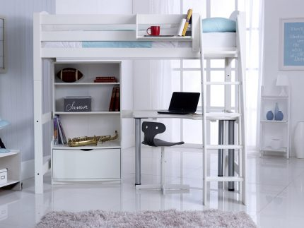 Convertible High Sleeper Bed with Bookcase Unit & Free Standing Desk (Shown RH)