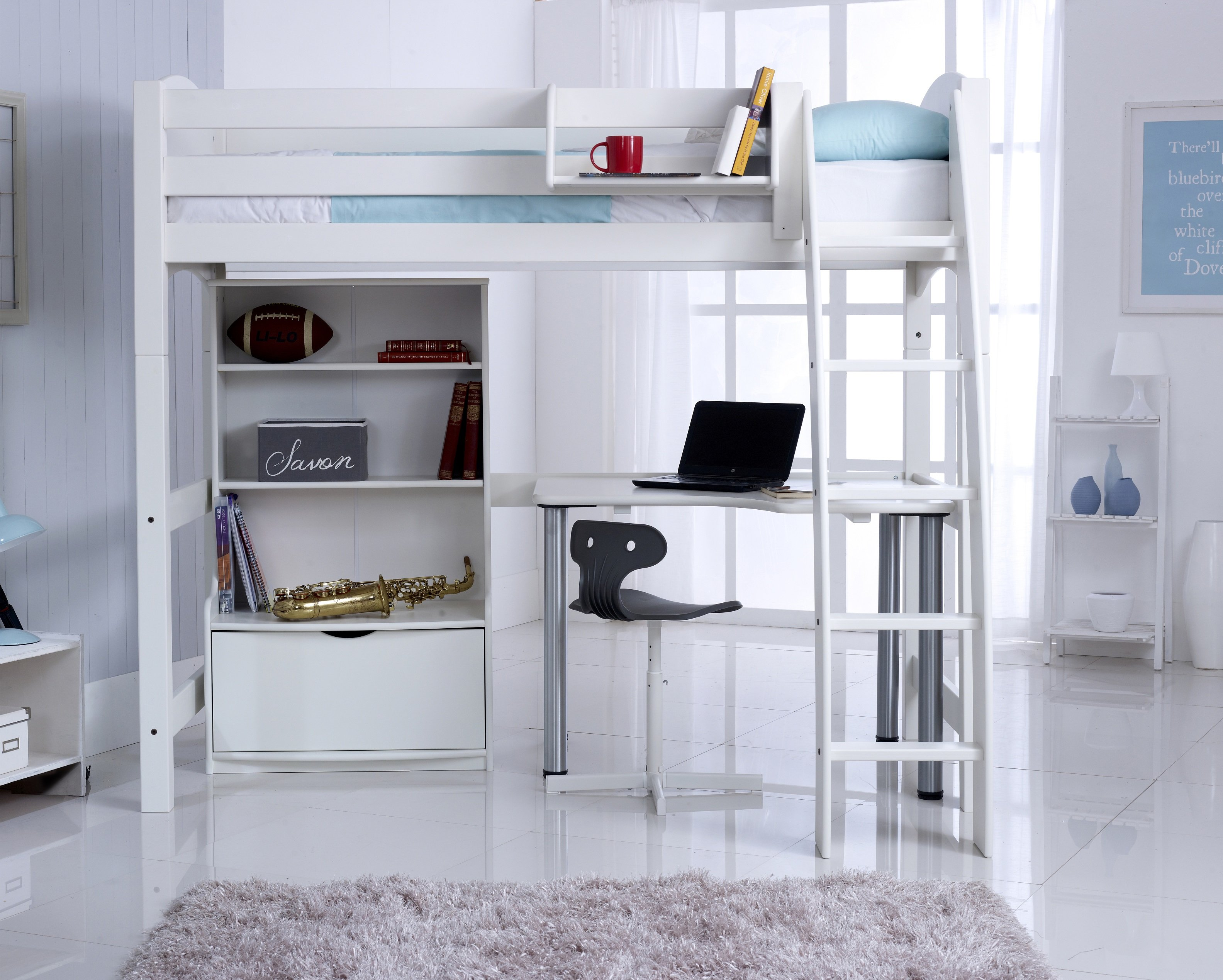High Sleeper Bed With Bookcase And Desk Scallywag Kids Beds