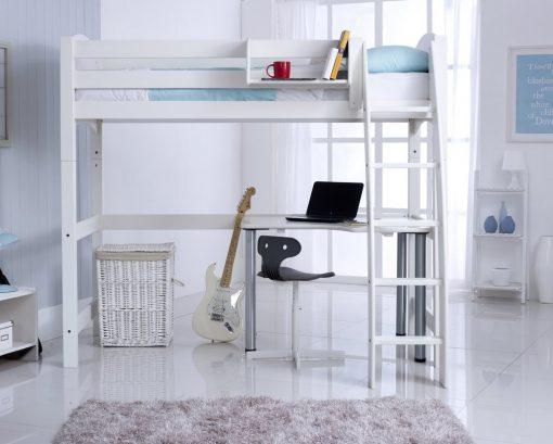 Convertible High Sleeper Bed Including Desk - White RH