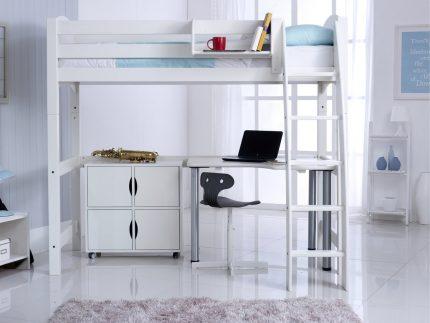 Convertible High Sleeper Bed Including Quad Shelf Unit & Desk RH