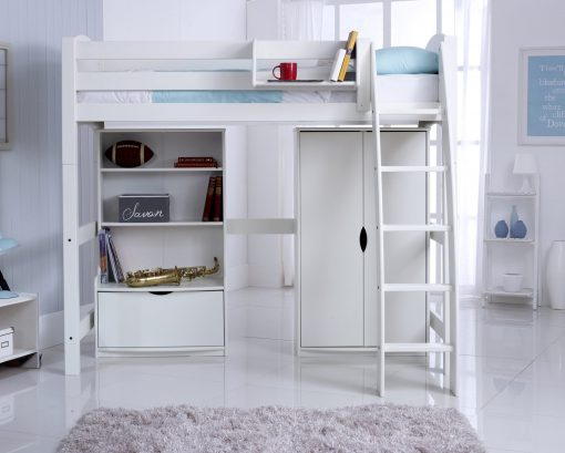 Convertible High Sleeper Bed with Wardrobe and Bookcase Unit