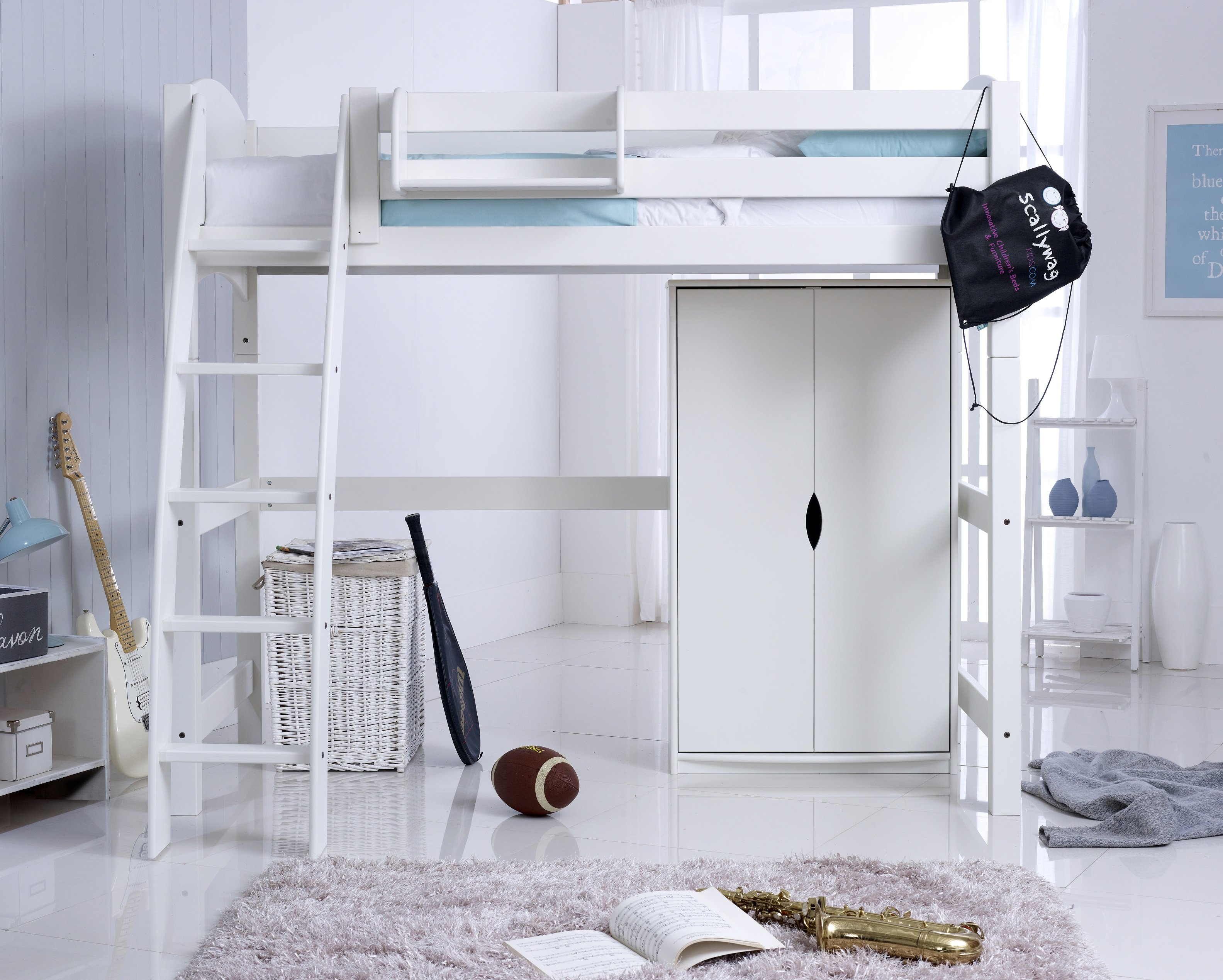 Convertible High Sleeper Bed with Wardrobe