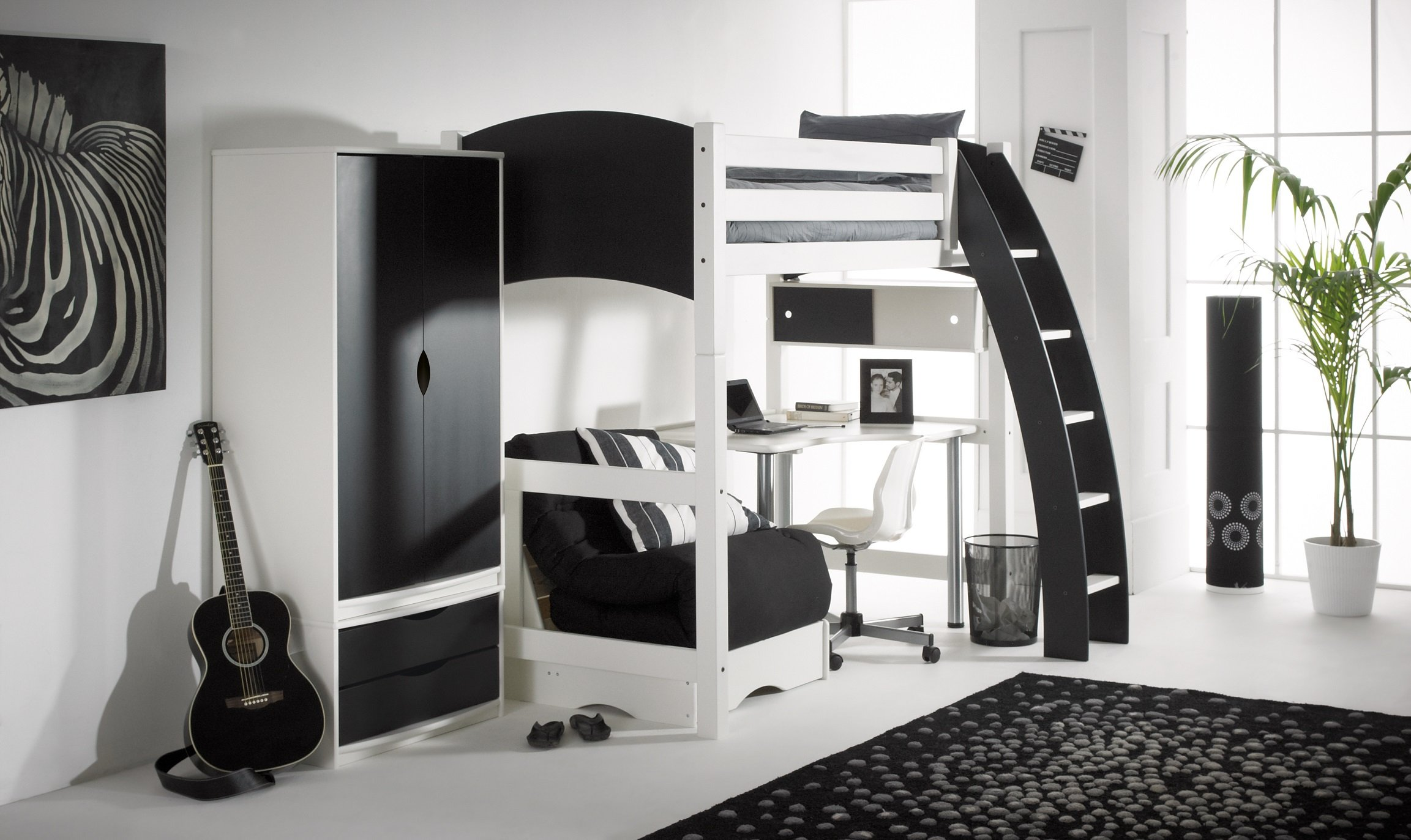 Picture of: Loft Bed Convertible High Sleeper Bed Desk Futon Wardrobe Drawers