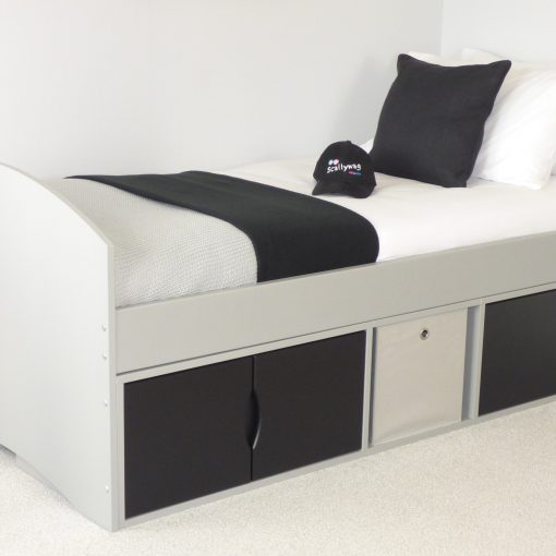 Richmond Storage Bed with Grey Frame & Black Doors