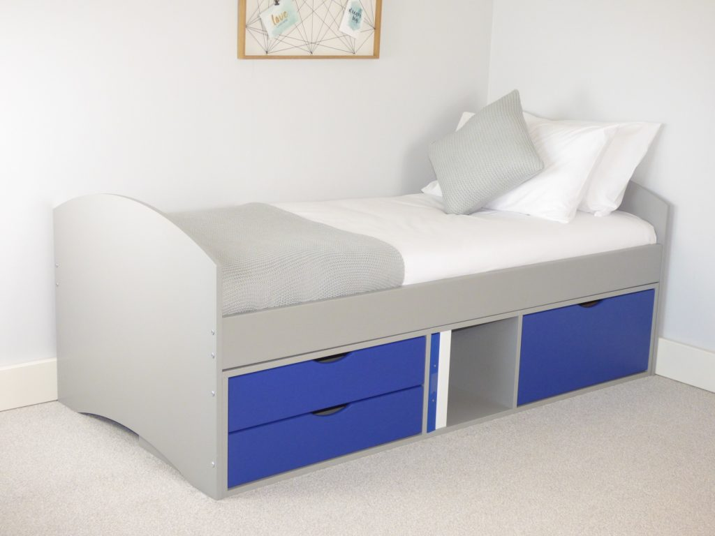 Richmond Storage Bed with Grey Frame & Blue 2 x Small/1 Deep Drawer
