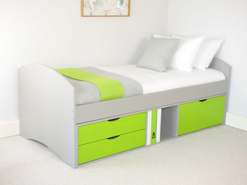 Richmond Storage Bed with Grey Frame & Lime 2 x Small/1 x Deep Drawer