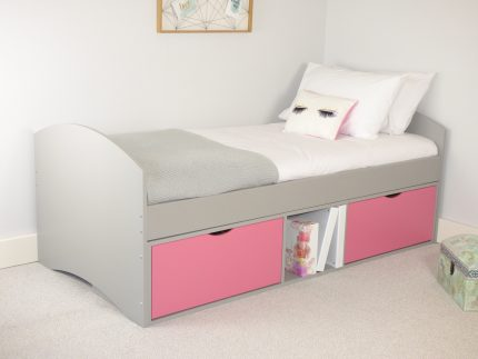 Richmond Storage Bed with Grey Frame & Pink 2 x Deep Drawers