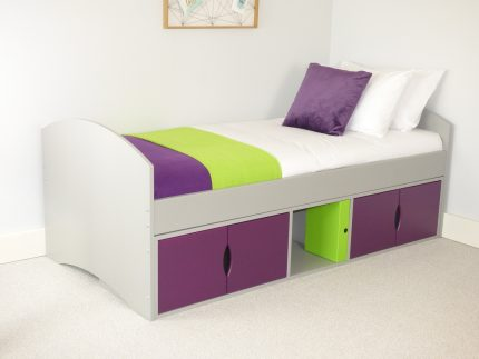 Richmond Kids Beds with Grey Frame & Plum Doors