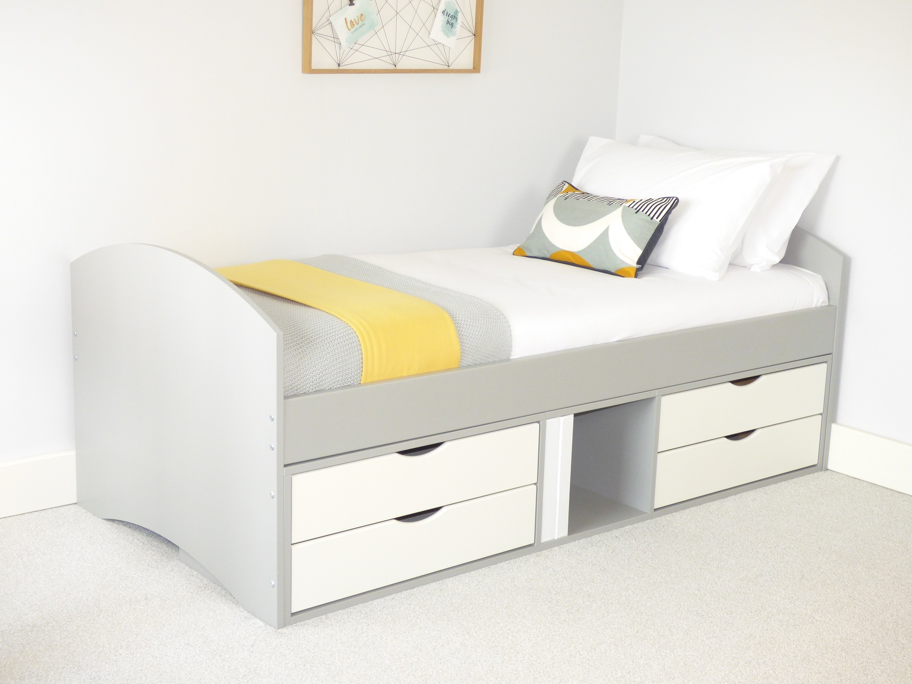 Richmond Storage Bed with Grey Frame & White 4 x Small Drawers