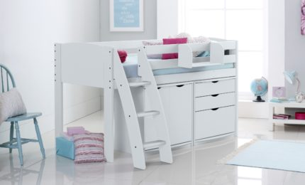 Express Delivery Cabin Bed In White with 3 Drawer Chest & Cupboard